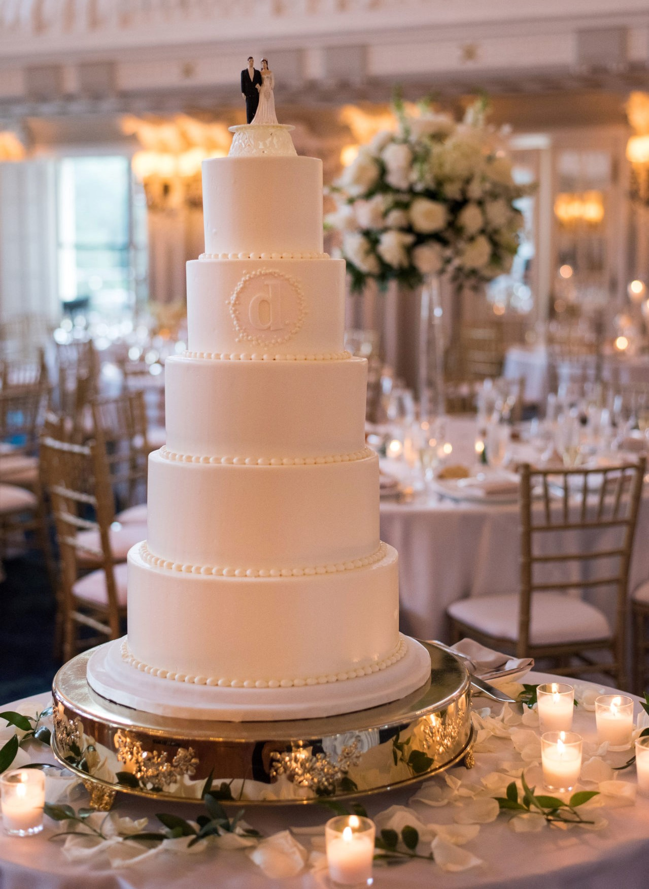 5 Tier White Wedding Cake Columbia, SC
